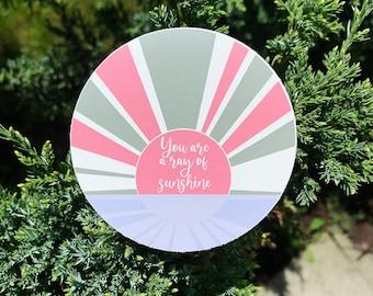 You Are A Ray of Sunshine Sticker, Hydro Flask Sticker, Laptop Sticker, Mirror Sticker, Kid's Birthday, Birthday Gift, Christmas Gift