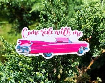 Pink Cadillac Sticker, Hydro Flask Sticker, Laptop Sticker, Elvis Sticker, Mirror Sticker, Kid's Birthday, Birthday Gift, Christmas Gift