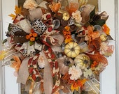 Fall Wreath, Animal Print Wreath, Leopard Print Wreath, Velvet Pumpkin Wreath, Gold Accent Wreath, Glamour Wreath, Rhinestone Pumpkin Wreath
