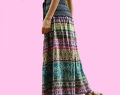 Vintage Floral A-line Maxi Skirt, Boho Pleated Skirts