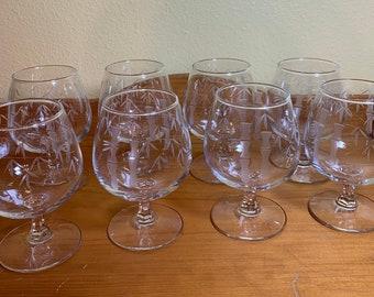 Noritake Etched Wine Cordials Bamboo Motif set of 8.