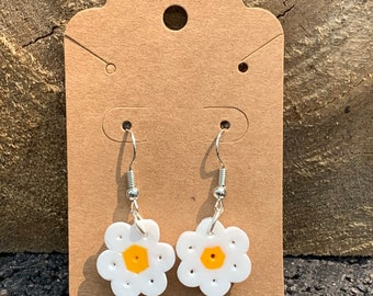 Perler bead flower earrings