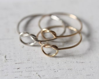 14K Gold Gold-filled Knot Ring Friendship Promise Stacking Stackable Tie the Knot Bridal Favors Bridesmaid Wedding Party Minimalist Gift
