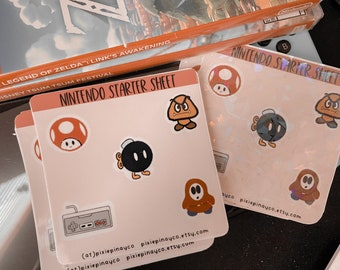 Mario Bros sticker sheet | Nintendo sticker sheet | cozy gaming sticker sheet
