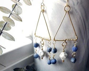Hammered Gold Filled  Triangle Blue Sodalite and Howlite Dangle Earrings