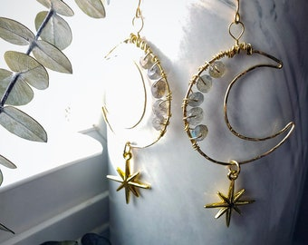 Hammered Gold Filled Moon Labradorite and Star Dangle Earrings
