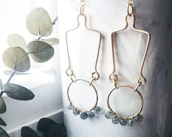Gold Filled Labradorite Dangle Hoop Circle Hanging Earrings