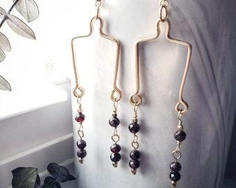 Gold Filled Dramatic Garnet Chain Dangle Earrings