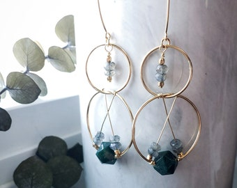 Gold Filled Double Hoop Circle Labradorite and Moss Agate Drop Earring