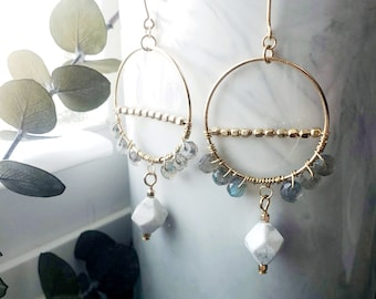 Gold Filled Hoop Circle Labradorite and Howlite Dangle Drop Earring