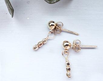 Gold Filled Beaded Stud Earrings