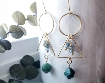 Gold Filled Geometric Triangle Hoop Circle Labradorite and Moss Agate Dangle Drop Earring
