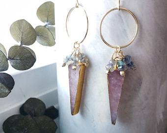 Gold Filled Rose Quartz Labradorite Geometric Earrings