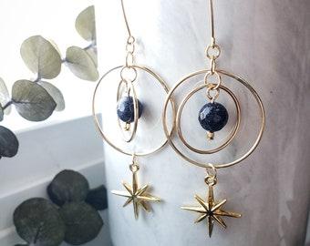 Gold Filled Solar System Star Blue Sandstone Celestial Earrings