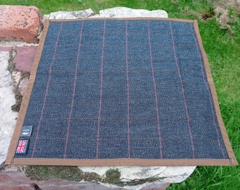 Part-Wool Tweed & Waxed Cotton Canvas Waterproof Seat Pad Sitting Mat for walking, hiking, camping + bushcraft. A dry place to sit or kneel.
