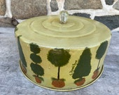 Vintage CAKE or PIE COVER Hand-painted Tin w Glass Knob