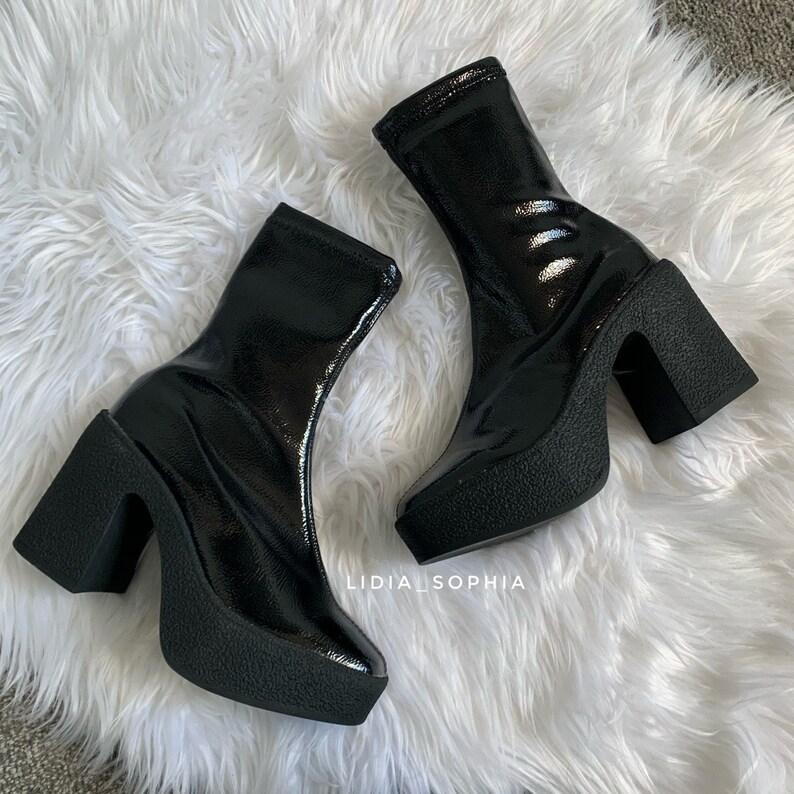 70s Shoes, Platforms, Boots, Heels | 1970s Shoes Platform heel ankle boots 70s style $71.74 AT vintagedancer.com
