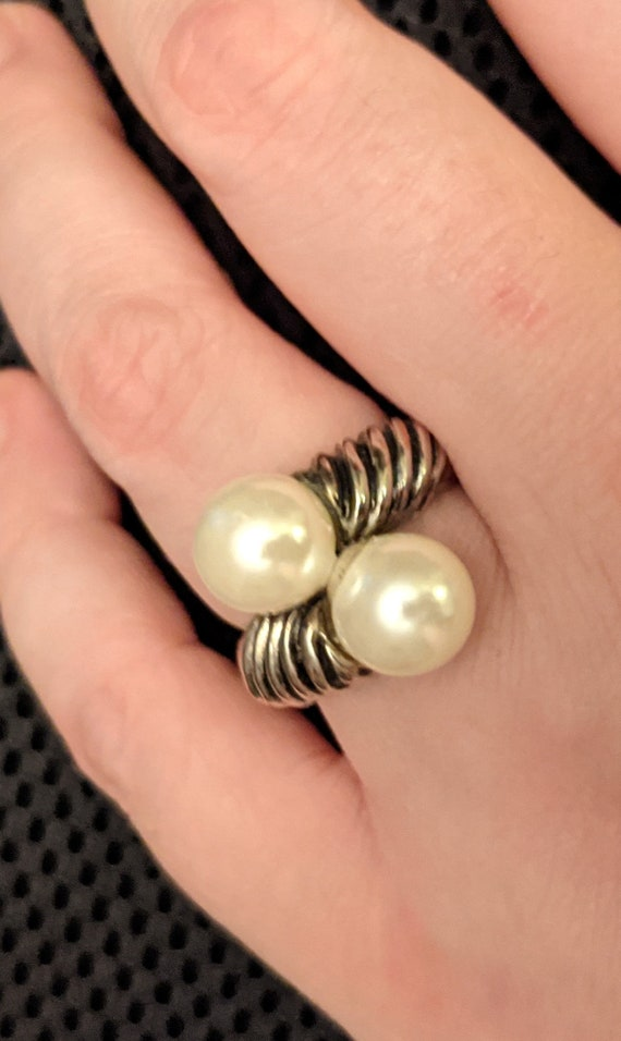 Vintage Faux Pearl Ring - image 7