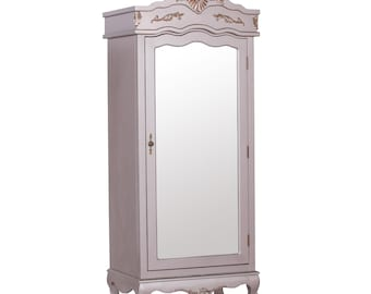 Antique French Style Full Mirror Single Door Armoire Wardrobe - Colour Options