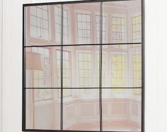 Industrial Look Square Black Metal Window Style Mirror 90 cm