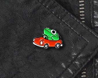 Cute Frog With Red Car Cartoon Enamel Metal Pin Badge   Enamel Pin   Pride Pin   Gift For Him   Gift For Her  pins for Backpacks Jeans