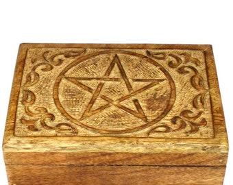 8 Inch Wooden Jewelry Box Organizer Holder Keepsake Trinket Box Gift For Her//Mom