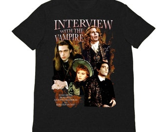 Interview With The Vampire Anne Rice Gothic Post Punk Shirt Brad Pitt and Kirsten Dunst Women Tee