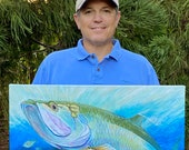 Tarpon Crossing the Bar  – Original Painting: fishing gift for man cave decor, original beach home art