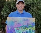 Tarpon with Pass Crabs – Original Painting: fishing gift for man cave decor, original beach home art