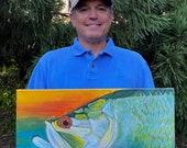 Tarpon Profile – Original Painting: fishing gift for man cave decor, original beach home art