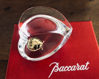 Baccarat heart shaped paper press with a ladybug