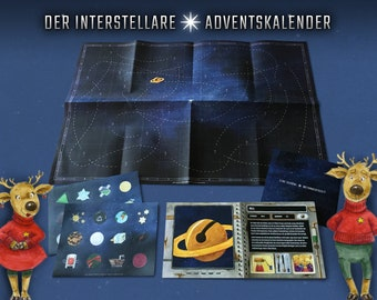 The Interstellar Advent Calendar · A journey through space · Sticker, logbook, wall poster, map · climate-neutral printing