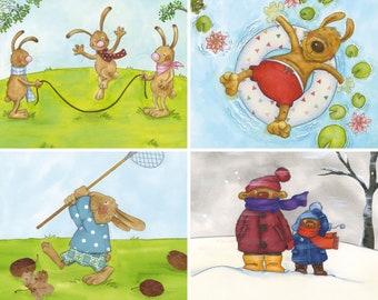 Children's Room 4x Pictures Set Seasons Poster 20 x 20 cm