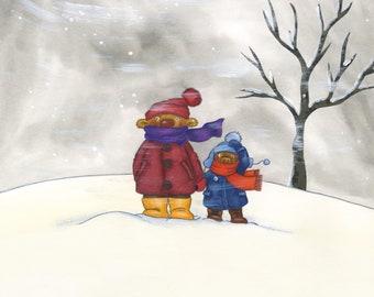Winter Poster Children's Room Picture 20 x 20 cm