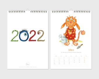Calendar 2022 · A4 · Monster · Wall calendar · Eyes · 12 pages · Watercolor · Crayon · Illustration · climate-neutral printing
