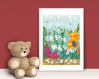 Children's Room Poster A4 · Dr. Spürkel's Incredible Underwater Phone · Picture Baby Room Children's Poster