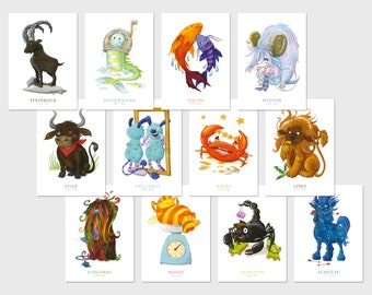 12x postcard set · Zodiac sign · Signs of the zodiac · Birthday · Birth · A6 · Watercolor · Crayon · Illustration · climate-neutral printing