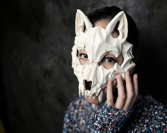 White Wolf Bone Masquerade Mask, Women Mask, Ball Party Mask, Wedding Mask, Party Mask, Anniversary Mask, Halloween Mask, Animal Mask, Party