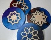 Islamic Geometric Design Epoxy Resin with Wood Inlay Coaster (Set of 4)