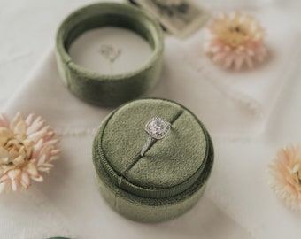 Velvet Ring Box - Avocado - Single Slot Circle Ring Box for Wedding Rings, Engagement Rings, Jewelry Boxes, and Flat Lay Props