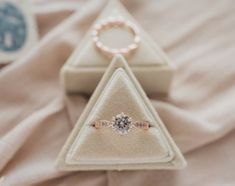 Velvet Ring Box - Ivory - Single Slot Triangle Ring Box for Wedding Rings, Engagement Rings, Jewelry Boxes, and Flat Lay Props
