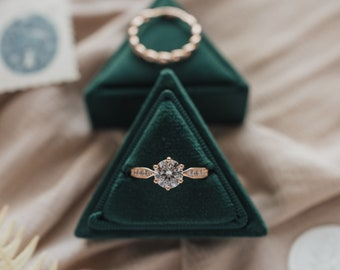 Velvet Ring Box - Emerald - Single Slot Triangle Ring Box for Wedding Rings, Engagement Rings, Jewelry Boxes, and Flat Lay Props
