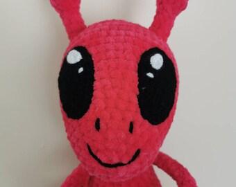 Hand crochet alien