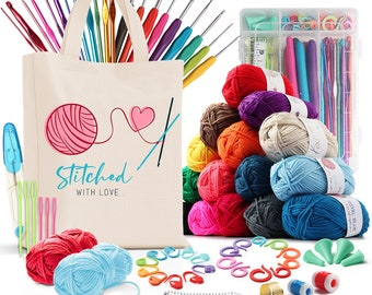DIY Crochet Kit with Crochet Hooks Yarn Set for  All Ages -  Includes Yarn Balls, Needles, Accessories Kit, Tote Bag &  Lots More - 73 Piece