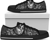 Calavera Sugar Skull Low Top Canvas Shoes, Day Of The Dead Sugar Skulls Low Top Sneakers - Gothic Shoes - Over Print Personalized Style,Size