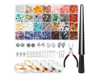 1660Pcs Crystal Jewelry Making Kit, Gemstone Chip Beads, Jewelry Wire, Pliers and Jewelry Ring Making Supplies, Ring Making Kit, Decor Beads