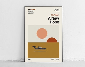 A NEW HOPE - Star Wars - retro-modern, vintage inspired Poster, mid century movie poster Art Print - Midcentury Modern - Free Shipping