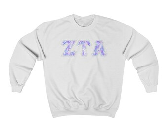 Zeta Tau Alpha Printed Sorority Letter Crewneck Sweatshirt   Cotton Candy Tie-Dye