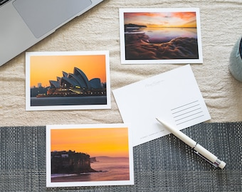 Australian landscape photography postcards. A6 size (14.8x10.5 cm) with white border, double-sided. Single or set of 4.