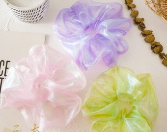 Iridescent Extra Large Scrunchy, Holographic Giant Scrunchies,Jumbo Scrunchies,Oversized Scrunchies, Giant Fluffy Scrunchies